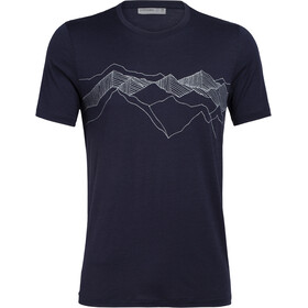Icebreaker Tech Lite Peak Patterns SS Crewe Top Herre midnight navy